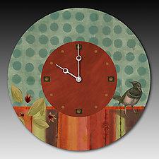 Aqua Bird Clock by Janna Ugone and Justin Thomas (Mixed-Media Clock)
