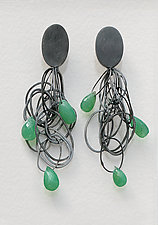 Tangle Earrings with Chrysophrase by Heather Guidero (Silver & Stone Earrings)