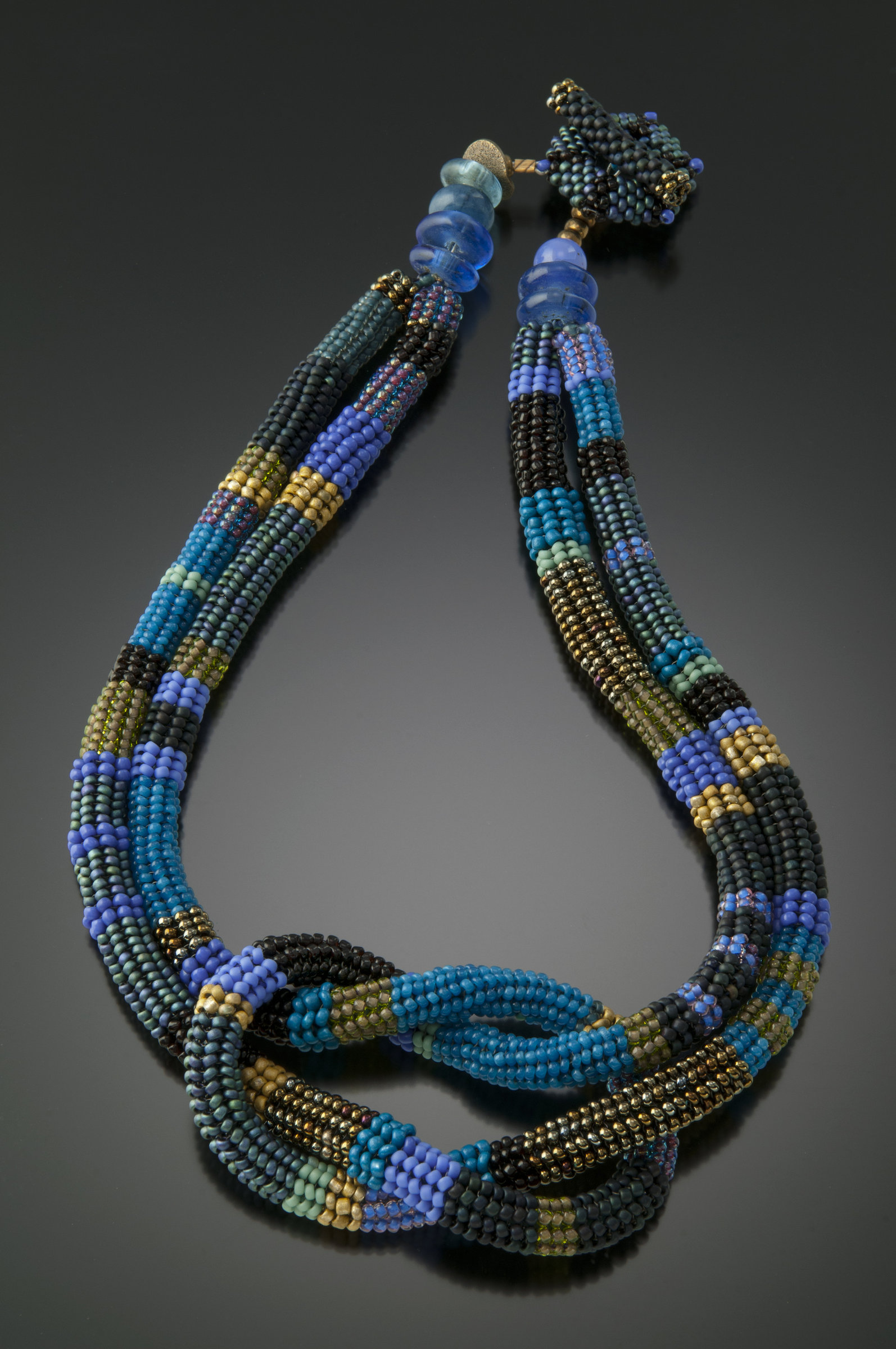 square knot necklace wisteria by julie powell beaded