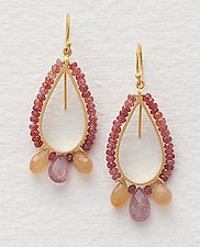 Beaded Tear Drop Earrings in Rose by Susan Kinzig (Beaded Earrings)