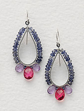 Beaded Tear Drop Earrings in Blue and Pink by Susan Kinzig (Beaded Earrings)