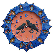 Ravens Wall Clock in Terracotta & Sapphire with Marbles by Beth Sherman (Ceramic Clock)