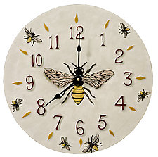 Honeybee Ceramic Wall Clock in White Glaze Background by Beth Sherman (Ceramic Clock)