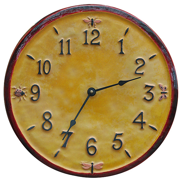Little Wings Ceramic Wall Clock in Red and Yellow Glaze