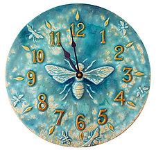 Honeybee Ceramic Wall Clock in Aqua Stone Glaze by Beth Sherman (Ceramic Clock)