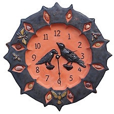 Ravens Ceramic Wall Clock in Terracotta and Metal Glaze with Stones by Beth Sherman (Ceramic Clock)