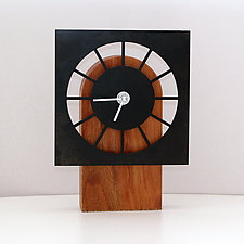 Table Clock Black by John Nalevanko (Wood & Steel Clock)