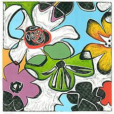 Flower Pop 1 Linocut by Lisa Kesler (Linocut Print)