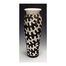 Black and White Raku Puzzle Vessel by Lance Timco (Ceramic Vase)