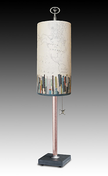 Copper Table Lamp with Small Tube Shade in Papers Edge