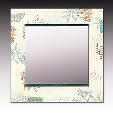 Journeys in Ecru Square Mirror by Janna Ugone and Justin Thomas (Mixed-Media Mirror)