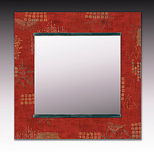 Journeys in Red Square Mirror by Janna Ugone and Justin Thomas (Mixed-Media Mirror)