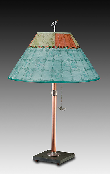 Copper Table Lamp with Large Conical Shade in Paradise Pool