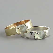 Hammered Gold Ring with Pear Shaped Prehnite by Sarah Hood (Gold & Stone Ring)