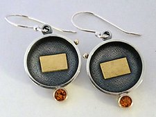 Golden Saucer Earrings by Michele LeVett (Gold, Silver & Stone Earrings)