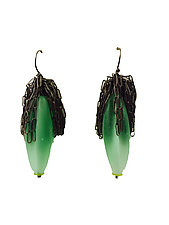 Calyx Earrings in Pale Emerald Frosted by Kate Rothra Fleming (Art Glass Earrings)