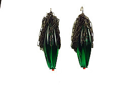 Calyx Earrings in Emerald Green by Kate Rothra Fleming (Art Glass Earrings)