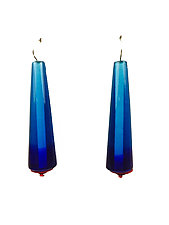 Trumpet Earrings Aqua Cobalt by Kate Rothra Fleming (Art Glass Earrings)