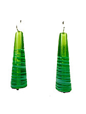 Trumpet Earrings in Tea Green with Turquoise Stripes by Kate Rothra Fleming (Art Glass Earrings)