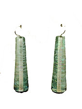 Trumpet Earrings in Iridescent Grey Green by Kate Rothra Fleming (Art Glass Earrings)