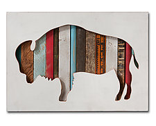 American Bison Collection by Dolan Geiman (Mixed-Media Wall Sculpture)