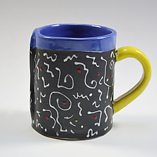 White Squiggle Mug by Vaughan Nelson (Ceramic Mug)