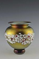 Gold Lustre Cherry Blossom Vase by Donald  Carlson (Art Glass Vase)