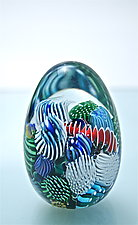 Micro Ocean Reef Egg Paperweight by Michael Egan (Art Glass Paperweight)