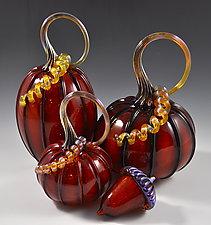 Pumpkins in Burnt Red by Drew Hine (Art Glass Sculpture)