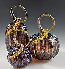 Pumpkins in Iridescent Eggplant by Drew Hine (Art Glass Sculpture)