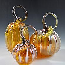 Pumpkins in Iridescent Gold by Drew Hine (Art Glass Sculpture)