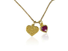 Love Always Heart Pendant by Nancy Troske (Gold Necklace)