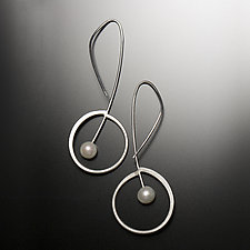 Melody Drops by Aleksandra Vali (Silver & Pearl Earrings)