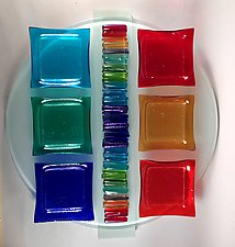 Rainbow Icicle Seder Plate II by Alicia Kelemen (Art Glass Seder Plate)