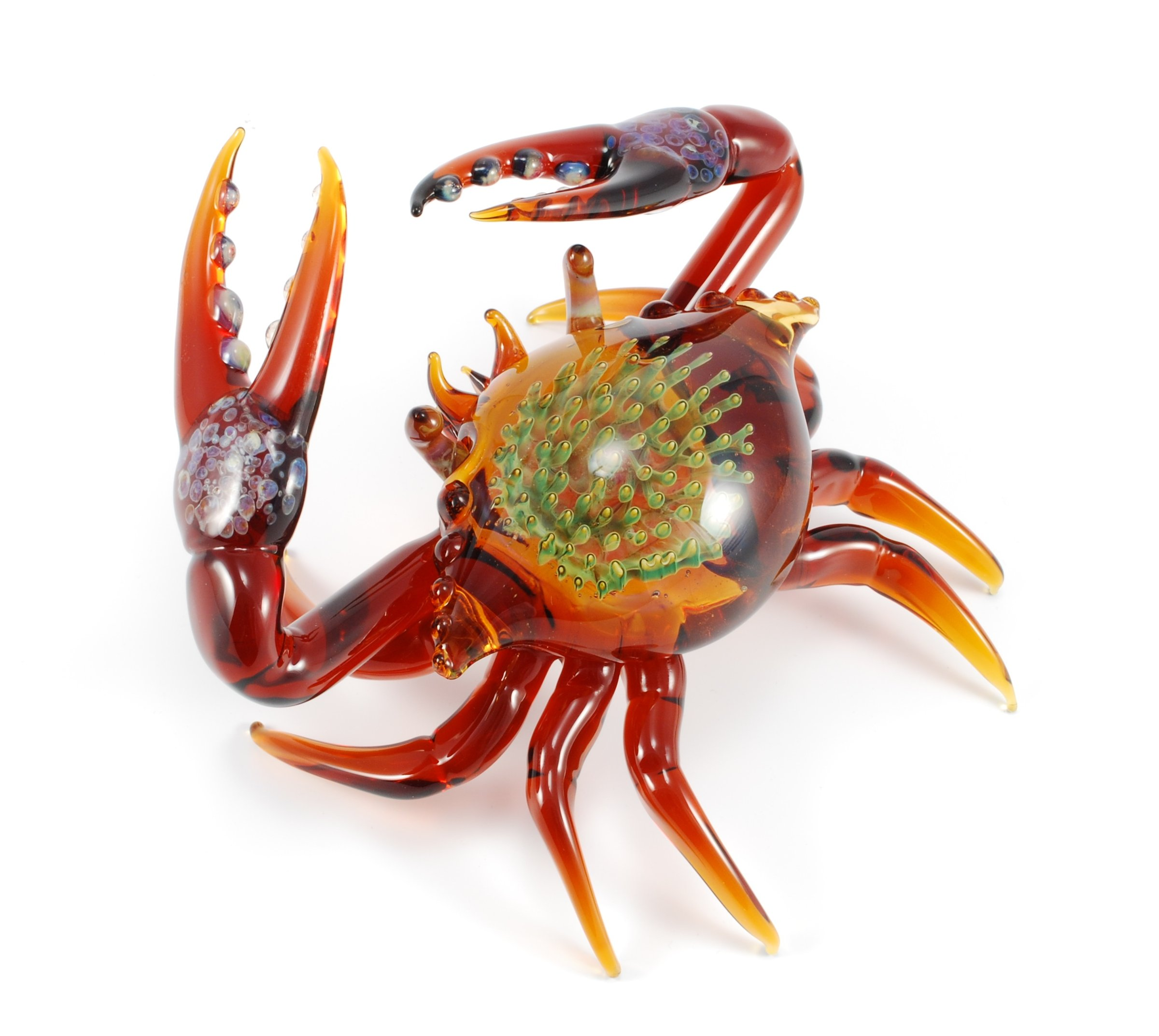 exotic crab sculpture in amber by jeremy sinkus art glass