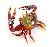 Exotic Crab Sculpture in Amber by Jeremy Sinkus (Art Glass Sculpture)