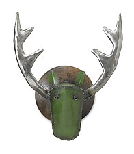 Large Elk Head by Ben Gatski and Kate Gatski (Metal Wall Sculpture)
