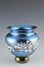 Blue Lustre Cherry Blossom Vase by Donald  Carlson (Art Glass Vase)