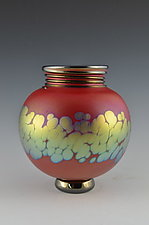 Red Footed Spiral Lip Wrap Vase by Donald  Carlson (Art Glass Vase)