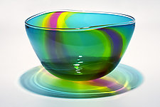 Transparent Ribbon Bowl in Lagoon Lime & Cranberry by Michael Trimpol and Monique LaJeunesse (Art Glass Bowl)