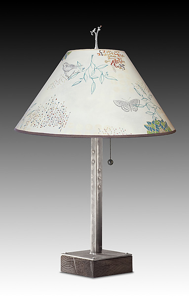 Steel Table Lamp on Wood with Large Conical Shade in Ecru Journey