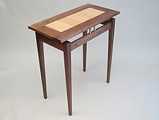 Walnut Console with Curly Maple Top by Robin Zirker (Wood Console Table)