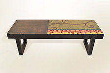 Brick Branch Bench with Coco Stain by Lara Moore (Mixed-Media Bench)