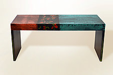 BellaBella Coffee Table in Paleteal Stain by Lara Moore (Mixed-Media Coffee Table)