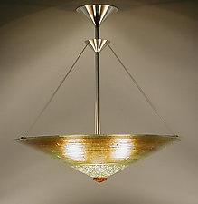 Gold Concentric Rings Cone by George Scott (Art Glass Pendant Lamp)