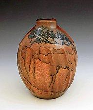 Horsehair Fluted Bottle by David Gordon (Ceramic Bottle)