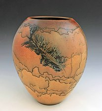 Horsehair Medium Vase by David Gordon (Ceramic Vase)