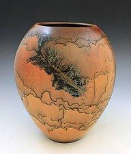 Horsehair Large Vase by David Gordon (Ceramic Vase)