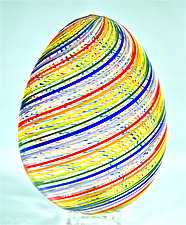 Blown Glass Rainbow Egg by Michael Egan (Art Glass Sculpture)
