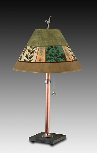 Copper Table Lamp with Medium Conical Shade in Spring Medley Apple